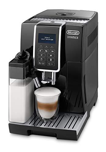 De'Longhi Dinamica ECAM 350.55.B – Kaffeevollautomat mit integriertem Milchsystem, Digitaldisplay mit beleuchteten Tasten, automatische Reinigung, 2-Tassen-Funktion, 23,6 x 42,9 x 34,8 cm, schwarz